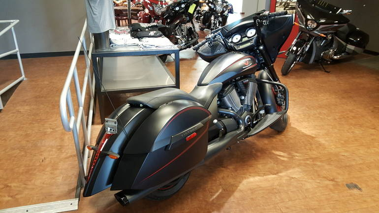 See more photos for this Victory Cross Country Suede Black with Red Pinst, 2015 motorcycle listing